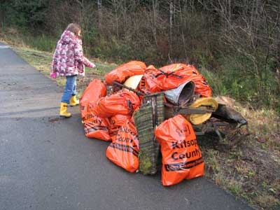 Garbage from the creek bank.