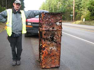 Ron with his new antique refridgerator ready for restoration